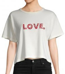 Rebecca Minkoff Ecru Graphic Cotton Cropped Top
