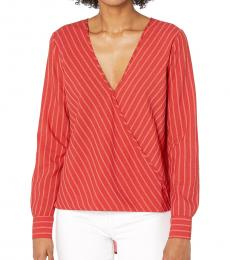 Red Wrap Woven Top