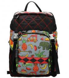 Prada Grey Graphic Large Backpack