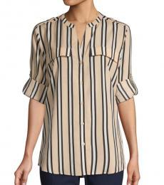 Calvin Klein Beige Striped Splitneck Shirt