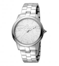 Just Cavalli Silver Mohair Watch