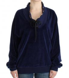 Dark Blue Velvet Sweater