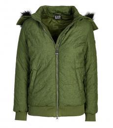 Emporio Armani Green Leaf Embroidery Detail Jacket