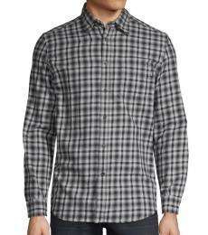 Grey Checkered Long-Sleeve Shirt