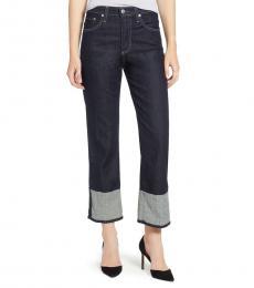 AG Adriano Goldschmied Blue High Rise Cuff Crop Jeans