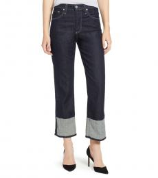 AG Adriano Goldschmied Blue High Rise Cuff Crop Jeans