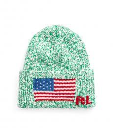 Ralph Lauren Fiji Green Flag-Brim Knit Beanie