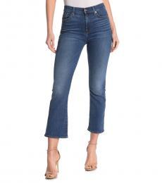 Blue High Waist Slim Kick Jeans