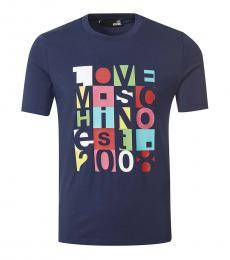 Love Moschino Dark Blue Graphic Print T-Shirt