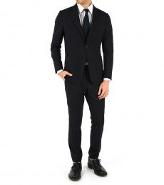 Navy Blue Wool Single Breasted Suit