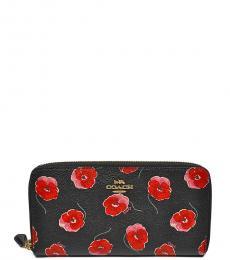 Black Accordion Zip Around Floral Wallet