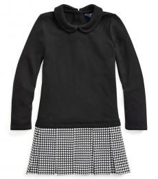 Ralph Lauren Little Girls Black Ponte-Skirt Interlock Dress