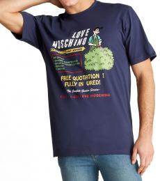 Blue Printed Graphic T-Shirt