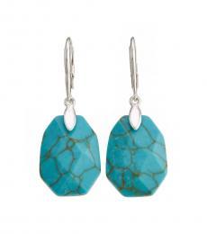 Silver-Turquoise Stone Drop Earrings