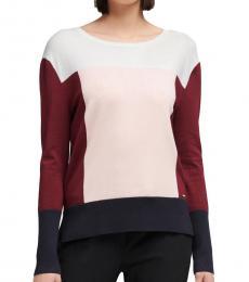 Multi color Colorblock Crew-Neck Sweater