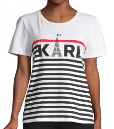 Karl Lagerfeld White Striped Logo Graphic T-Shirt