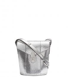 Silver Lock Mini Bucket Bag