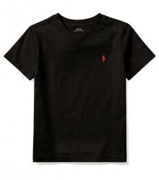 Ralph Lauren Little Boys Black V-Neck T-Shirt