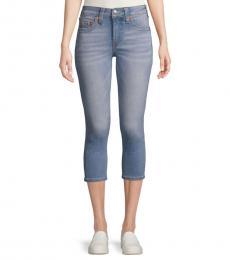 True Religion Minty Blue Skinny-Fit Cropped Jeans