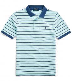 Boys Island Aqua Striped Polo