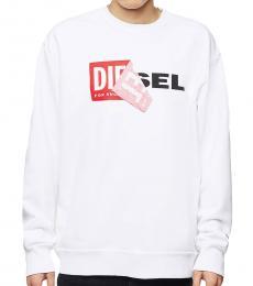 Diesel Bright White Patched Logo Sweatshirt