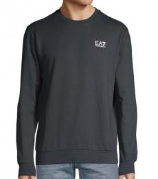 Solid Blue Logo Cotton Sweatshirt