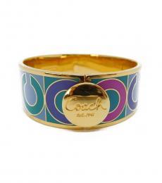 Multi Color-Gold Signature Hinged Bangle Bracelet