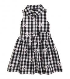 Calvin Klein Little Girls Black Gingham Heart Dress