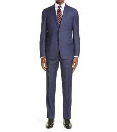 Emporio Armani Dark Blue Trim Fit Plaid Wool Suit