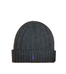Dark Grey-Purple Ski Polo Beanie