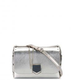 Jimmy Choo Silver Lockett Small Shoulder Bag