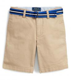 Little Boys Khaki Slim Fit Belted Chino Shorts