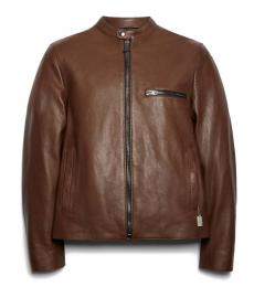 Dark Fawn Leather Racer Jacket