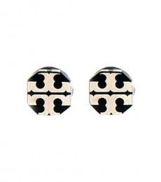 Tory Burch Black Silver Stud Earrings