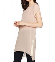 True Religion Blush Sheer Silk Tunic Top