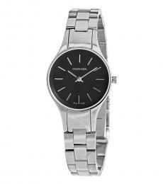 Calvin Klein Silver Simplicity Crystal Black Dial Watch