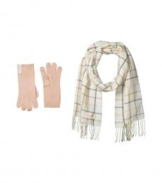 Calvin Klein Eggshell Plaid Woven Scarf and Gloves Set
