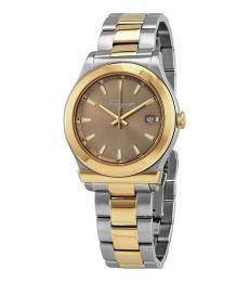 Salvatore Ferragamo Silver Light Brown Dial Watch