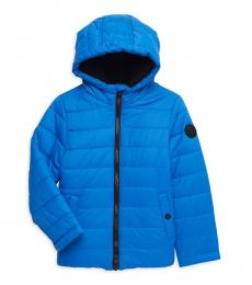Michael Kors Little Boys Cobalt Faux Fur Lined Quilted Puffer