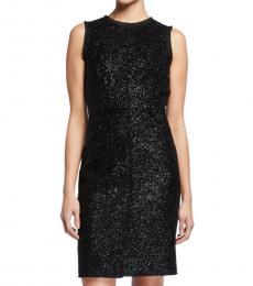 Kate Spade Black Sleeveless Tinsel Tweed Sheath Dress