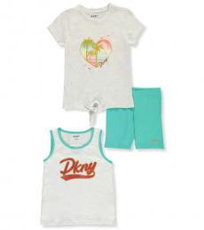 DKNY 3 Piece Top/Tank Top/Shorts Set (Little Girls)