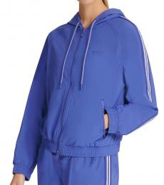 DKNY Royal Blue Hooded Zip-Front Jacket
