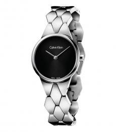 Calvin Klein Silver Snake Black Dial Watch