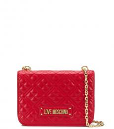 Love Moschino Red Quilted Medium Shoulder Bag