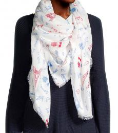 Karl Lagerfeld Rouge White Printed Frayed Scarf