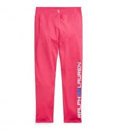 Ralph Lauren Girls Dark Pink Stretch Legging Pants