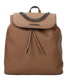 Love Moschino Beige Solid Medium Backpack
