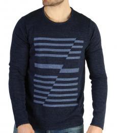 Calvin Klein Navy Blue Striped Crewneck Sweater