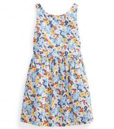 Ralph Lauren Little Girls Preppy Floral Poplin Dress