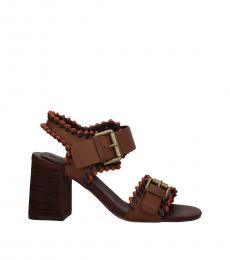 See by Chloe Brown Ankle Strap Leather Heels